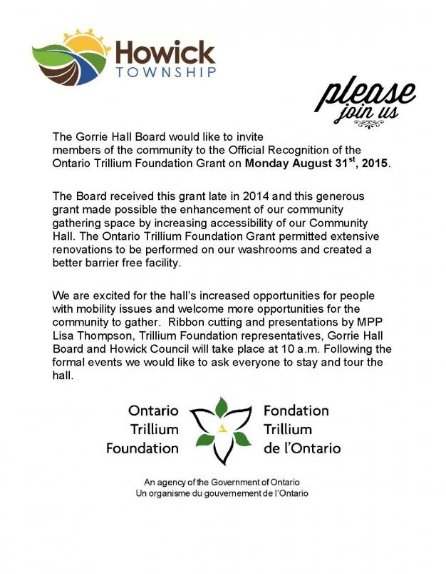 Trillium Grant Recognition Invitation